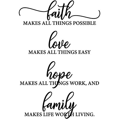 My Vinyl Story - Bible Quotes Wall Decals Religious Inspirational Quotes Living Room Wall Decor Stickers Art Decorations Christian Verse Jesus Faith Home Gift (Faith Makes All Things Possible)