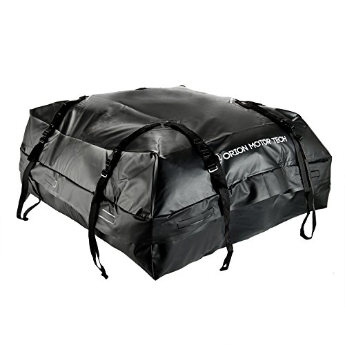 (OrionMotorTech 15 Cubic Feet Waterproof Car Rooftop Cargo Carrier Storage Bag, Fit Any Car, Van, SUV with Roof Rails, Easy to Install with Durable Wide Straps)