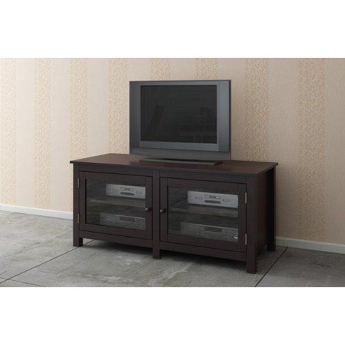 Espresso / Glass Doors TV LCD Plasma Stand / Media Console
