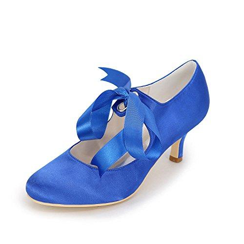 Mujer yc Dedo Boda Blue Del Carrete Cinta Tacón Cerrado Satén L Talón Alto Zapatos De Lazo Con Medio Pie Superior Novia Bombas La qpxfntS