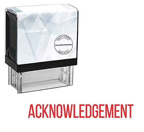 StampExpression - Capitalized Acknowledgment Office Self Inking Rubber Stamp - Red Ink ()