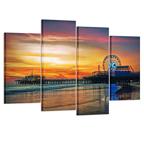 (Kreative Arts 4 Panel Los Angeles Wall Art Fun Fair at Santa Monica Pier Canvas Print California Home Decor Artwork Gallery Wrapped Wood Stretched and Ready to Hang L47xH32inch )