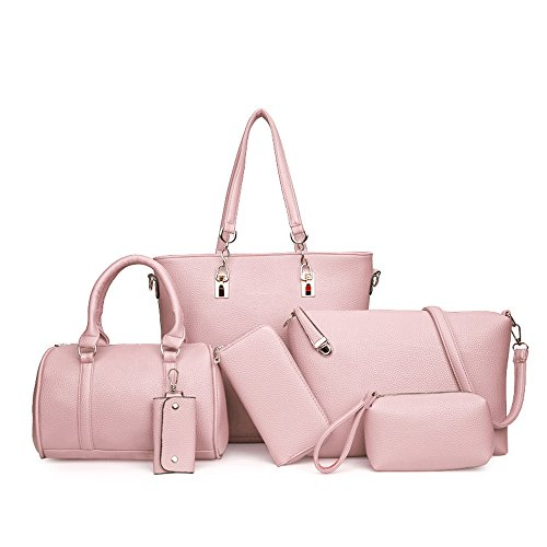 SJMMBB Mujer Bolsa con Una Bolsa Grande, Gris Y Seis Piezas De Conjunto Rosa