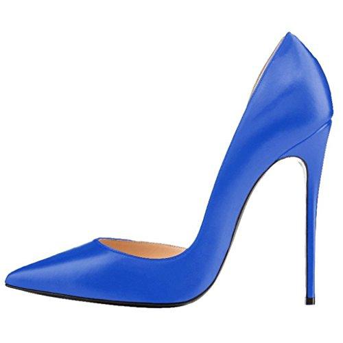 Calaier Femme Cadix Pointu Orteil 12cm Stiletto Slip-on Pumps Chaussures Bleu