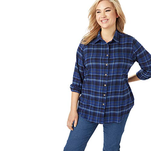Woman Within Women's Plus Size Classic Flannel Shirt - 1X, Evening Blue Plaid