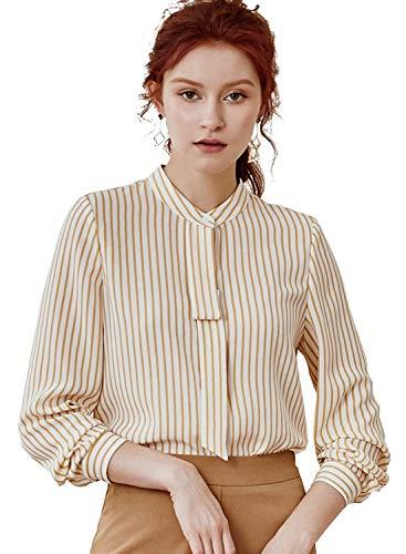 ROEYSHOUSE Women's Long Sleeve Button Up Striped Shirt Office Chic Work Blouse Beige, Medium