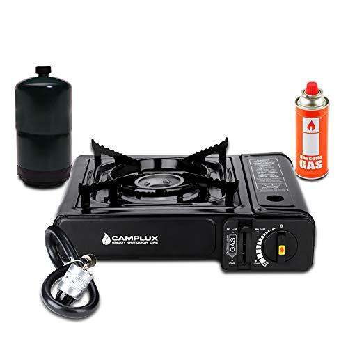 Camplux New Dual Fuel Propane & Butane Portable Outdoor Camping Gas Stove Single Burner with Carry Case ()