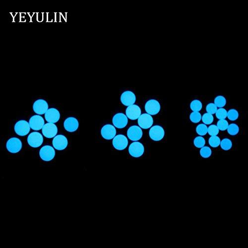 Calvas 6mm 8mm Round Noctilucent Luminous Glow in Dark Stone Spacer Beads for Making Jewelry DIY 30pcs Wholesale - (Color: Blue, Item Diameter: -