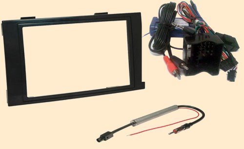Radio Stereo Install Dash Kit Double din + Steering control wiring + canbus wire harness + antenna adapter for VW Volkswagen Touareg 2004 2005 2006 2007 2008 2009 2010