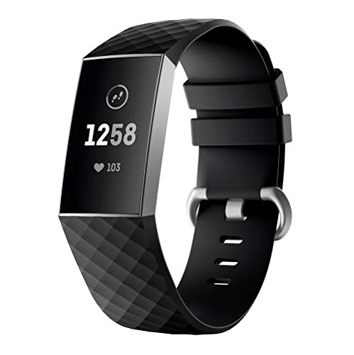Clearance Compatible Fitbit Charge 3 Bands,Soft Sports Wristband Breathable Silicone Strap Compatible Fitbit Charge 3 (Black B, 233mm) from Hotcl