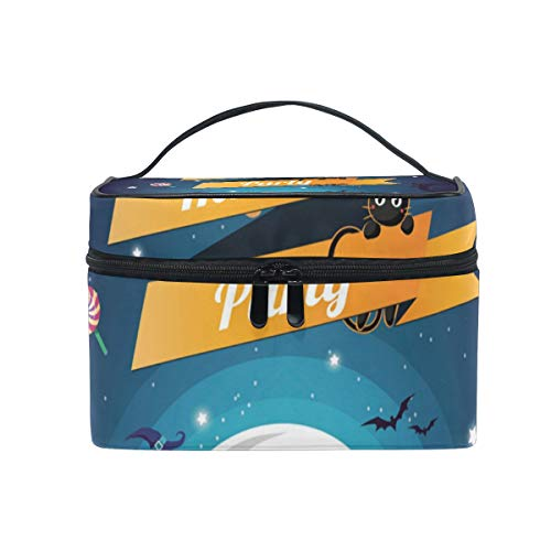 OREZI Blue Halloween Cosmetic Bag Large Multifunction Makeup Travel Toiletry Travel Kit Organizer Case with Quality Zipper Portable for Makeup Bag for Women ()