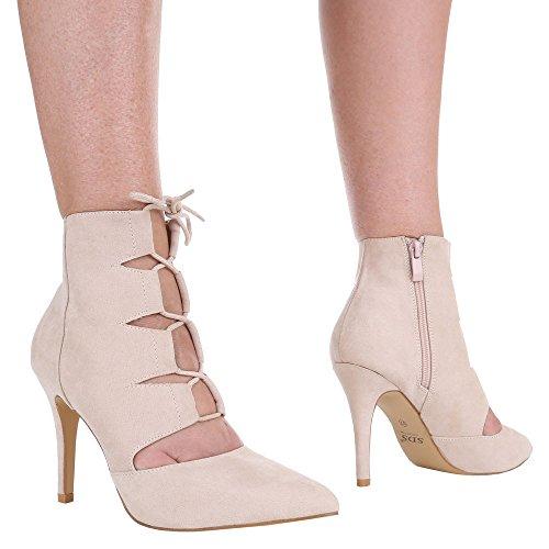 Damen Pumps Schuhe High Heels Stiletto Abendschuhe Business Club Sandaletten schwarz beige camle pink 36 37 38 39 40 41 Beige