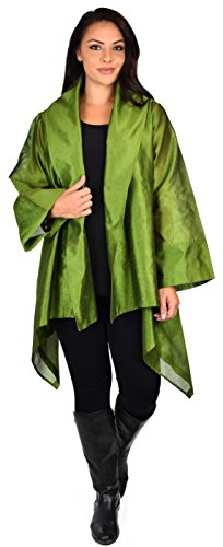Silk Casual Jacket (Dare2bStylish Women Plus Size Loose Fitting Poly Silk Designer Cover Up Duster Jacket)