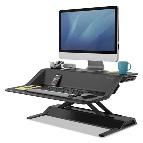 Fellowes Lotus Sit-Stand Workstation Desk, Adjustable, Pre-Assembled, Black - Adjustable Workstation Stand