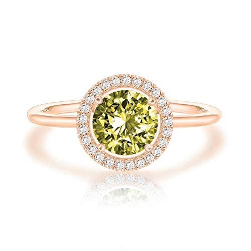 Swarovski Crystal 14K Rose Gold Plated Birthstone Rings | Rose Gold Rings for Women | Peridot Ring (Pear Peridot Ring)