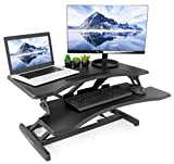 "VIVO Small Black Height Adjustable Standing Desk Workstation   Monitor Riser 30"" Sit"