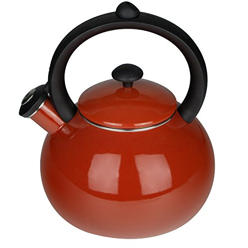 Porcelain Enameled Tea Kettles - Whistling Tea Kettle for Stovetop 2-Quart Teapots Red - Costa by AIDEA