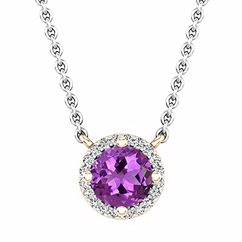 14K Rose Gold Round Amethyst And White Diamond Ladies Halo Pendant (Silver Chain ()