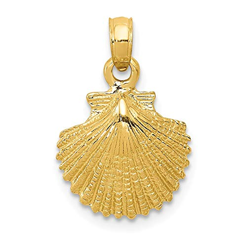 14k Yellow Gold Scallop Sea Shell Mermaid Nautical Jewelry Pendant Charm Necklace Shore Fine Jewelry Gifts For Women For Her ()