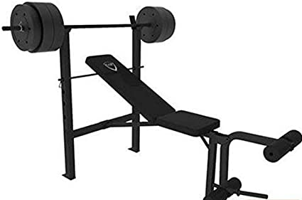 CAP Barbell Deluxe Bench w/ 100-Pound Weight Set (Black, 25.59 x 13.39 x 7.68 Inches)