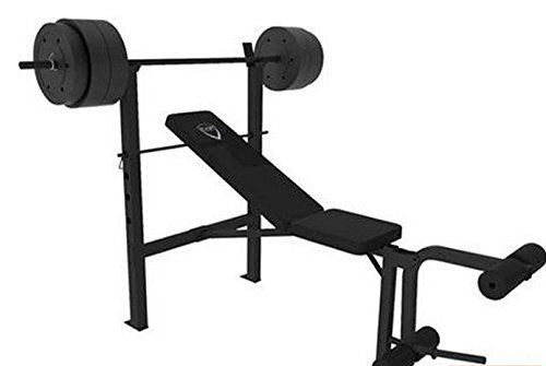 CAP Barbell Deluxe Bench w/ 100-Pound Weight Set (black, 25.59 x 13.39 x 7.68 Inches) by CAP Barbell