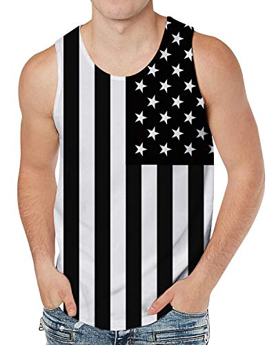 Leapparel Men and Boys 3D Pattern USA Flag Tank Top Black&White Vest Sleeveless Tees T-Shirts for Dad Work Sport XXL