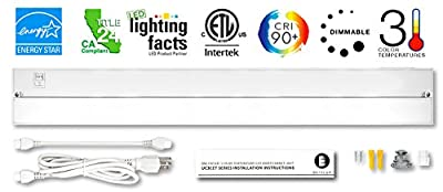 Britelum 3 Color Temperature Under Cabinet LED Lighting Kit Adjusts to Soft White 2700K, Neutral White 3500K & Cool White 4000K, CRI90+, Dimmable, Hardwire or Plug-in. ENERGY STAR