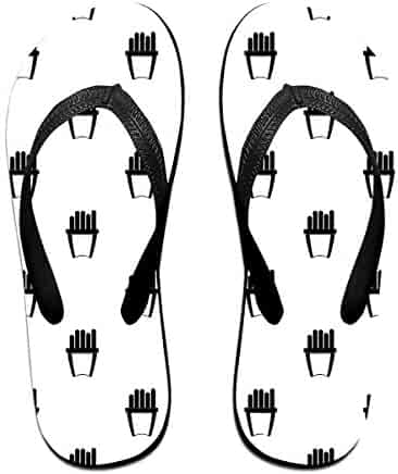 725d350a3c820 KLSMM Couple Slipper Fries Pattern Black Print Flip Flops Unisex Chic  Sandals Rubber Non-Slip