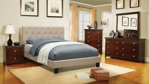 Furniture of America Roy Fabric Platform Bed with Button Tufted Headboard Design, Full, Ivory
