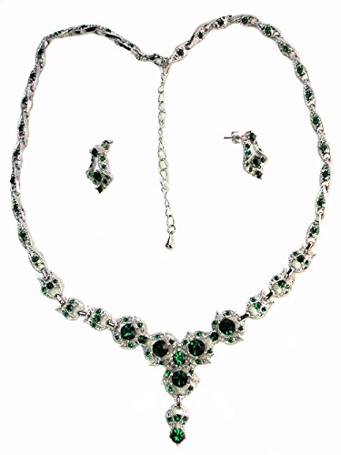 Faship Emerald Color Green Crystal Floral Necklace Earrings Set