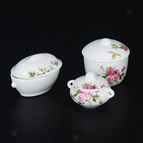 Brosco 3pcs Floral Casserole Pot Bowl with Lid Dollhouse Miniature Kitchen Decor