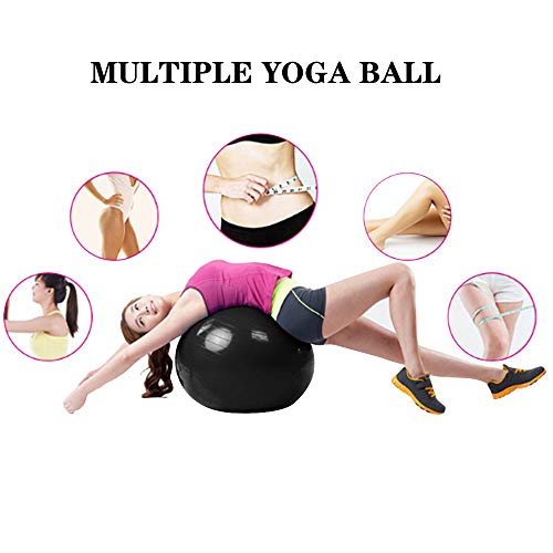 Fourheart Exercise Ball,Anti-Burst Slip-Resistant Extra Thick Balance Stability Yoga Ball(45-85cm),Supports 2000lbs with QuickFootPump,Perfect for Home Gym Core Strength Yoga Fitness (Black, 55cm)