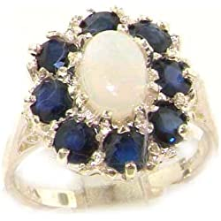 14k White Gold Natural Opal and Sapphire Womens Cluster Ring - Sizes 4 to 12 Available