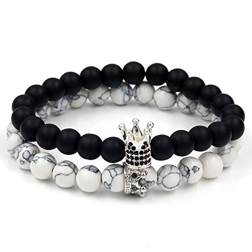 SVOSLYH 2Pcs/Sets Micro Pave CZ Crown Charm Bracelets Set for Women Men's Lava Howlite Stone Beadc Couple Bracelet Bangles Sets Pulseira,ZJ2034S,Size S 16-17cm
