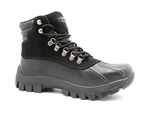 LM Men Waterproof Rubber Sole Winter Snow Boots Work Boots 7014 (10.5, 2017 Black)