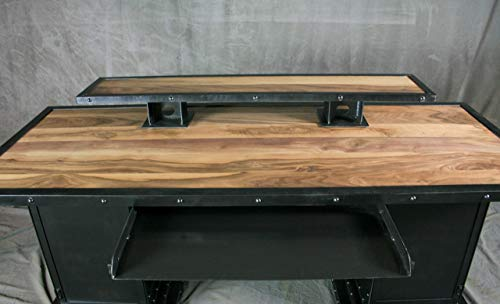 Industrial Desk with Riser and Storage Bases. Executive Desk. Walnut Wood and Steel. Reclaimed Wood Available. Custom…