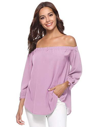 Aibrou Women's Pink Chiffon Blouse Off Shoulder Tops 3/4 Sleeve Elegant Shirts ()