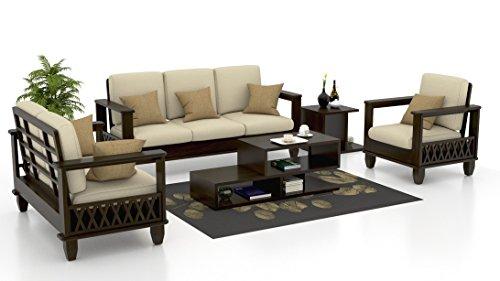 Royal Interiors Oak 3+2+1 Seater Sectional Wood Sofa Set, Ivory