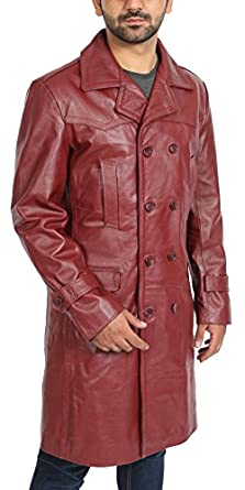 mens burgundy double breasted trench leather 34 long classic reefer overcoat neo