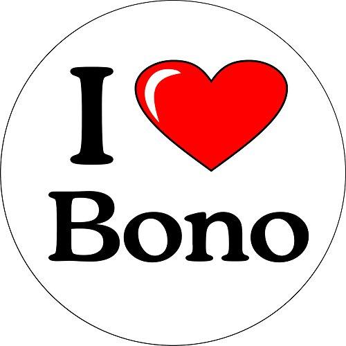 U2- I Love Bono (with Heart) - 1 1/4 Button/Pin Bono Button