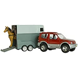 William Hunter Equestrian Jeep with Horse Trailer - Great Birthday for Car & Horse Mad Children - Comes with Horses in The Trailer