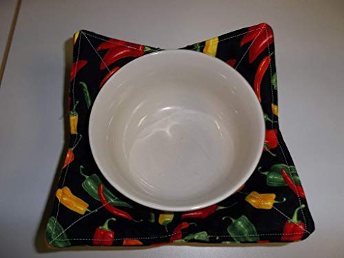 Microwave Bowl Cozy Holder Soup Cozies Mixed Chili Peppers Reversible Pot Holder All Cotton Handmade Gift Hot -