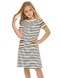 Zacloter Girls Short Sleeves Dress Casual Summer Pocket Striped Printed T-Shirt Skirt
