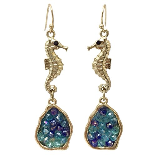[Long Gold Tone Seahorse with Blue Glass Beads Dangle Earrings] (Little Girl Gypsy Costumes)