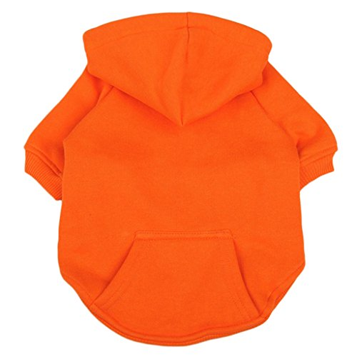 Fenteer Soft Warm Pet Winter Clothing Dogs Cats Puppies Sports and Leisure Sweater Hoodie Pullover Pet Clothes - Orange, L