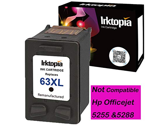 Inktopia Remanufactured for HP 63XL Ink Cartridges 1 Black, High Yield and Ink Level Display Used in HP Officejet 3830 3831 4650 HP Envy 4512 4516 4520 Deskjet 1112 2130 3630 3633 3634 Printer