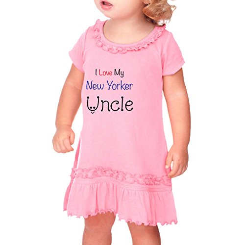 Cute Rascals I Love My New Yorker Uncle New York Cotton Short Sleeve Ruffle Neck Girl Toddler Dress Sunflower - Soft Pink, 18 (New Yorker Dresses)