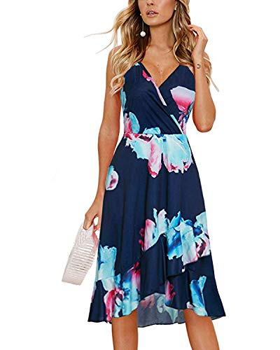 STYLEWORD Women's Summer Spaghetti Strap Sleeveless Casual Swing Simple Cross Ruffle Dresses(Floral03,L) ()
