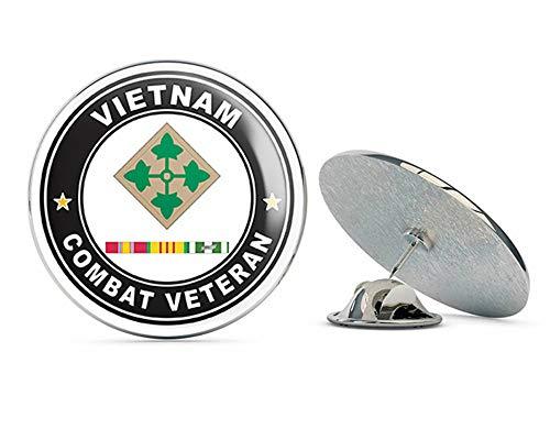 US Army 4th Infantry Division Vietnam Combat Veteran with Ribbons Metal 0.75