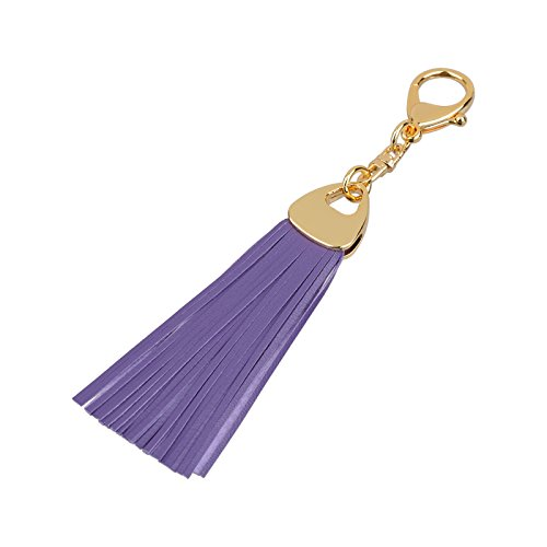 (Richbud Leather Water Drop Tassel Keychain Handbag Charm Keyring Fob (Violet))